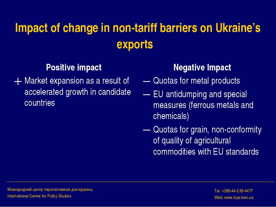 Impact of change in non-tariff barriers on Ukraine's exports Positive impact ...