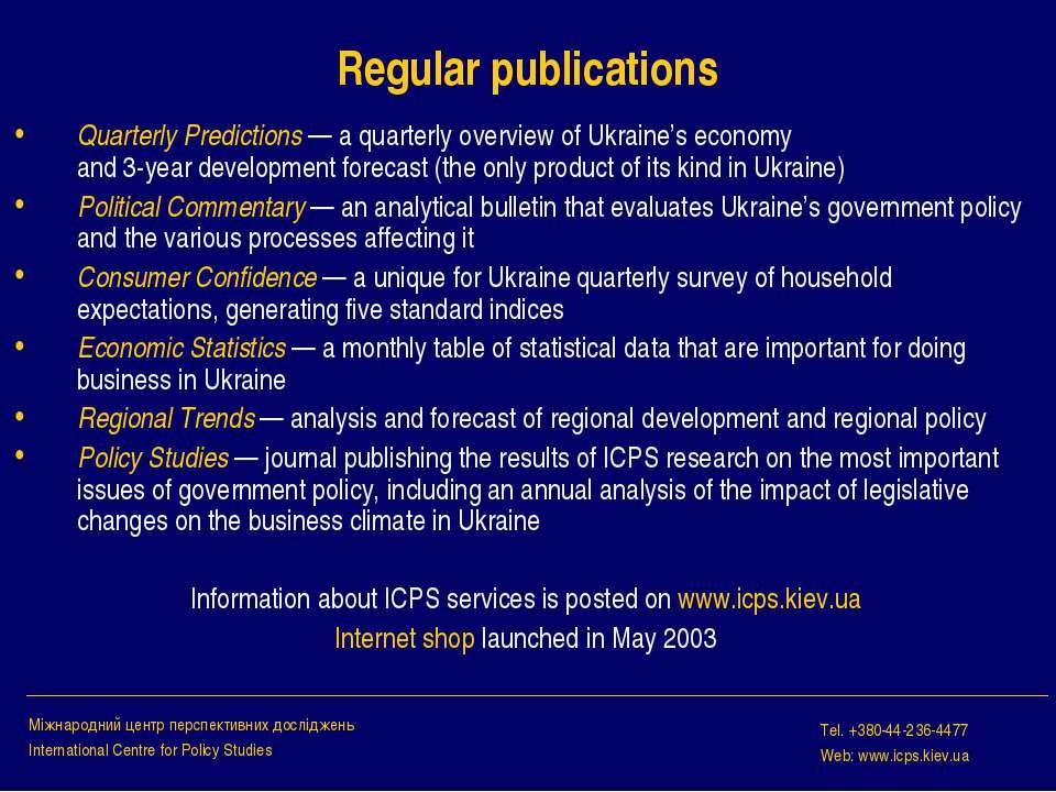 Regular publications Quarterly Predictions — a quarterly overview of Ukraine'...
