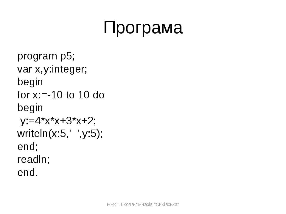 Програма program p5; var x,y:integer; begin for x:=-10 to 10 do begin y:=4*x*...