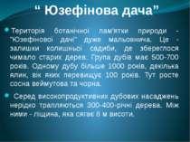 """"""" Юзефінова дача"""" Територія ботанічної пам'ятки природи - """"Юзефінової дачі"""" д..."""