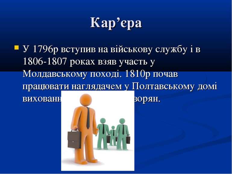 Кар'єра У 1796р вступив на військову службу і в 1806-1807 роках взяв участь у...