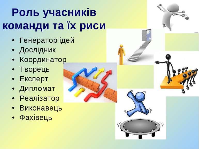 Роль учасників команди та їх риси Генератор ідей Дослідник Координатор Творец...