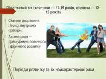 Періоди розвитку та їх найхарактерніші риси Підлітковий вік (хлопчики — 13-16...