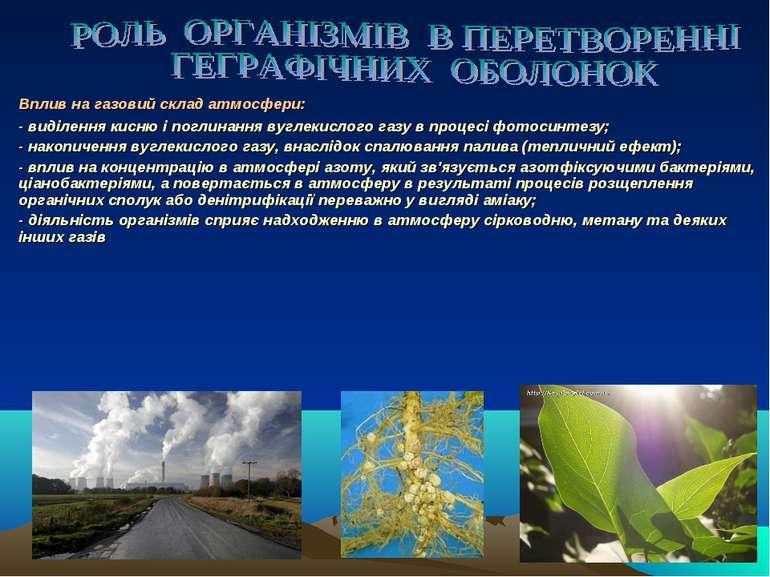 Вплив на газовий склад атмосфери: - виділення кисню і поглинання вуглекислого...