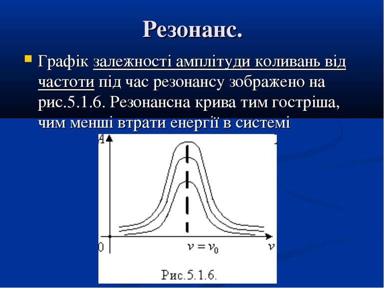 Резонанс. Графік залежності амплітуди коливань від частоти під час резонансу ...