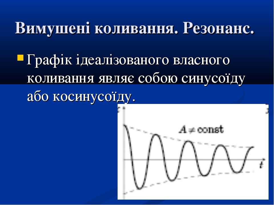 Вимушені коливання. Резонанс. Графік ідеалізованого власного коливання являє ...