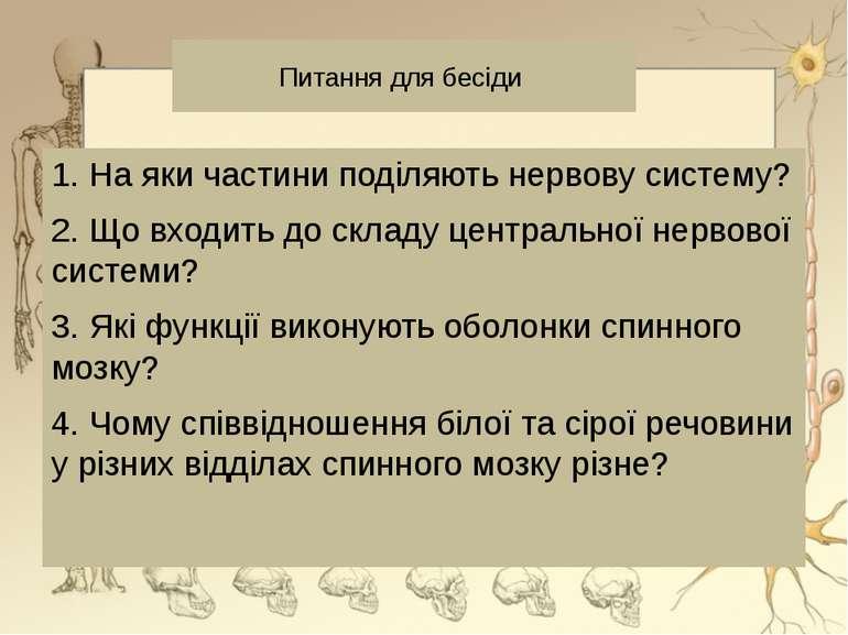 Питання для бесіди 1. На яки частини поділяють нервову систему? 2. Що входить...
