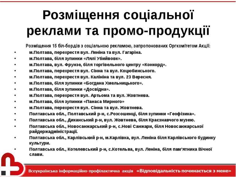 Розміщення соціальної реклами та промо-продукції Розміщення 15 біл-бордів з с...