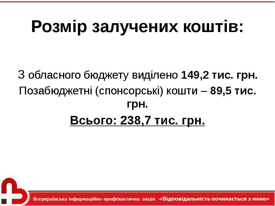 Розмір залучених коштів: З обласного бюджету виділено 149,2 тис. грн. Позабюд...