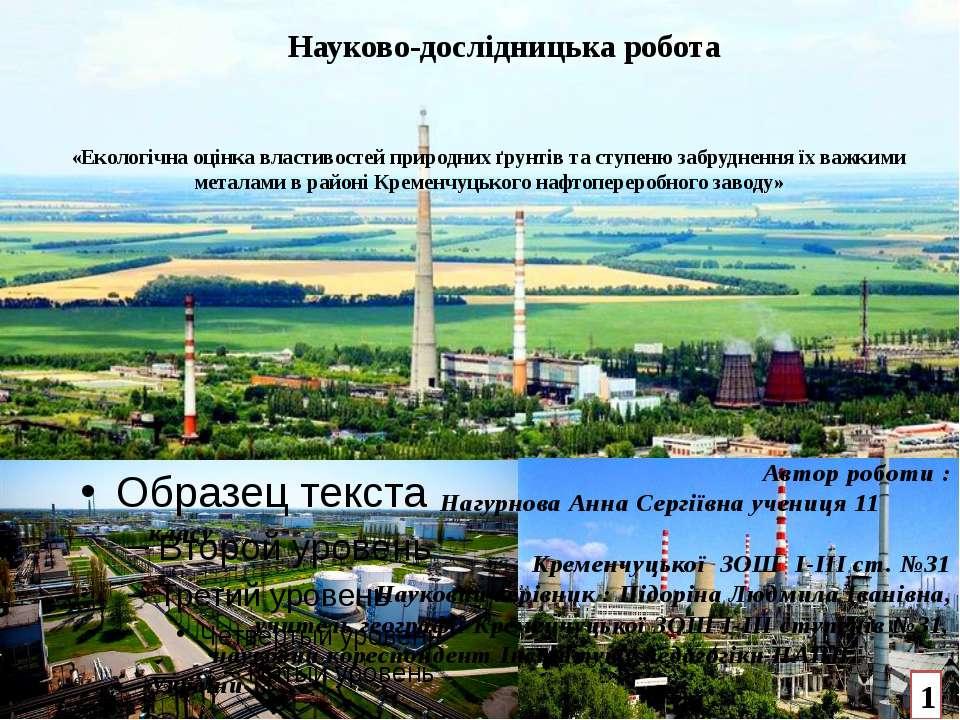 «Екологічна оцінка властивостей природних ґрунтів та ступеню забруднення їх в...