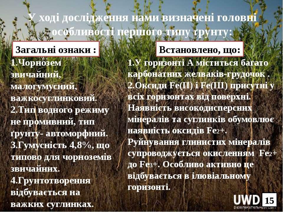У ході дослідження нами визначені головні особливості першого типу ґрунту: 1....