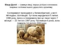 Вівця Доллі — самиця вівці, перша успішно клонована тварина з клітини іншого ...