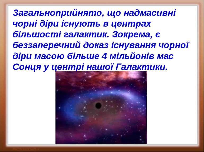 Загальноприйнято, що надмасивні чорні діри існують в центрах більшості галакт...