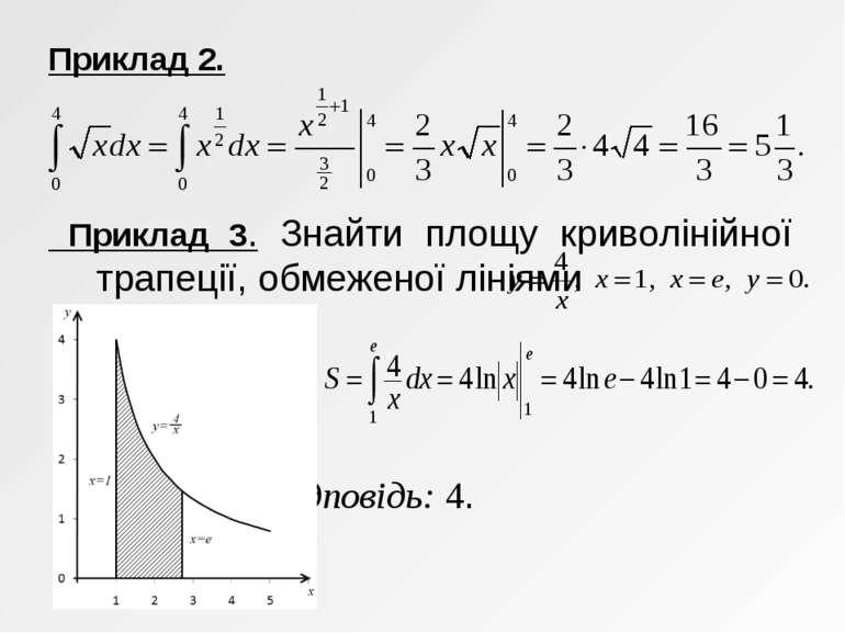 Приклад 2. Приклад 3. Знайти площу криволінійної трапеції, обмеженої лініями ...