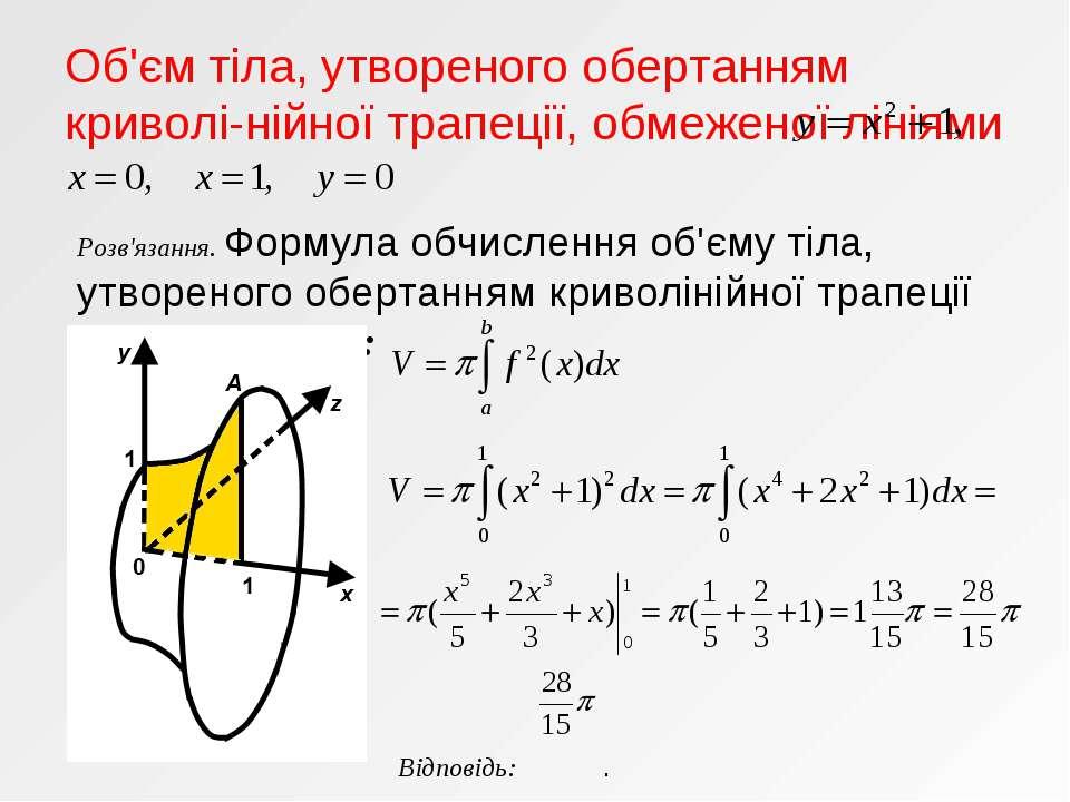 Об'єм тіла, утвореного обертанням криволі-нійної трапеції, обмеженої лініями ...
