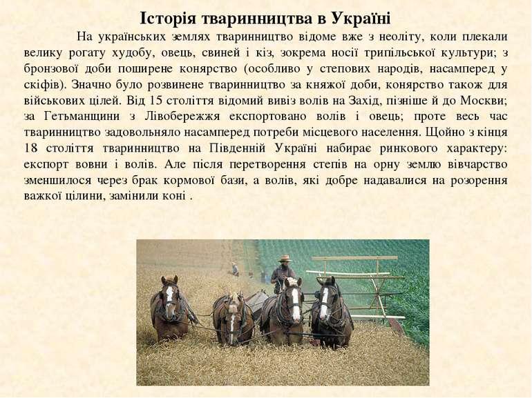 Історія тваринництва в Україні На українських землях тваринництво відоме вже ...