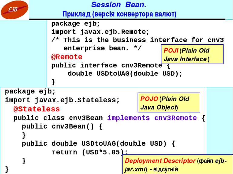 Session Bean. Приклад (версія конвертора валют) package ejb; import javax.ejb...