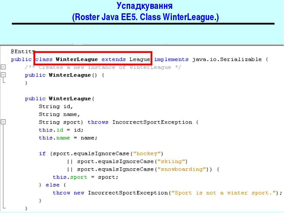 Успадкування (Roster Java EE5. Class WinterLeague.) Java EE 5 EJB 3.0