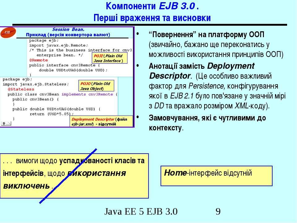 """Компоненти EJB 3.0 . Перші враження та висновки """"Повернення"""" на платформу ООП..."""