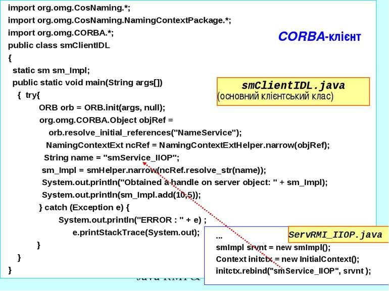 CORBA-клієнт import org.omg.CosNaming.*; import org.omg.CosNaming.NamingConte...