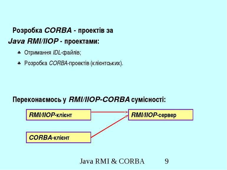 Розробка CORBA - проектів за Java RMI/IIOP - проектами: Отримання IDL-файлів;...