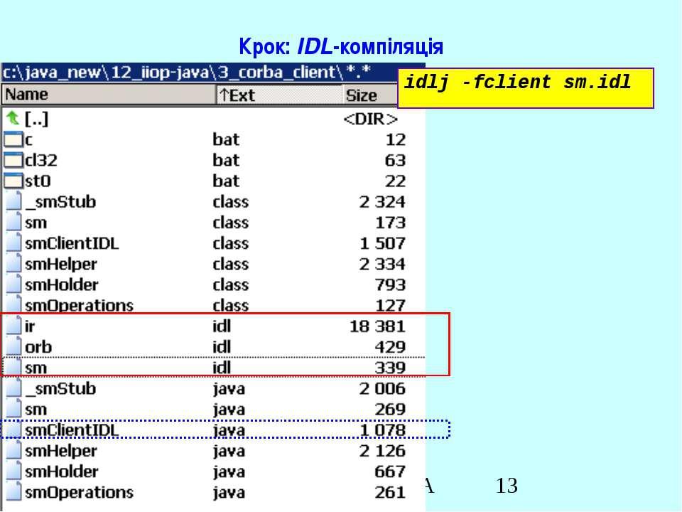 Крок: IDL-компіляція idlj -fclient sm.idl Java RMI & CORBA