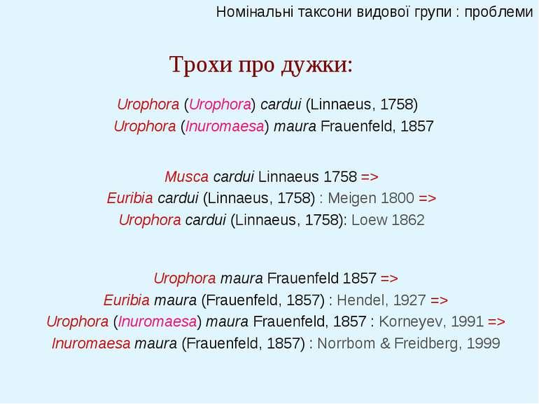 Номінальні таксони видової групи : проблеми Трохи про дужки: Urophora maura F...