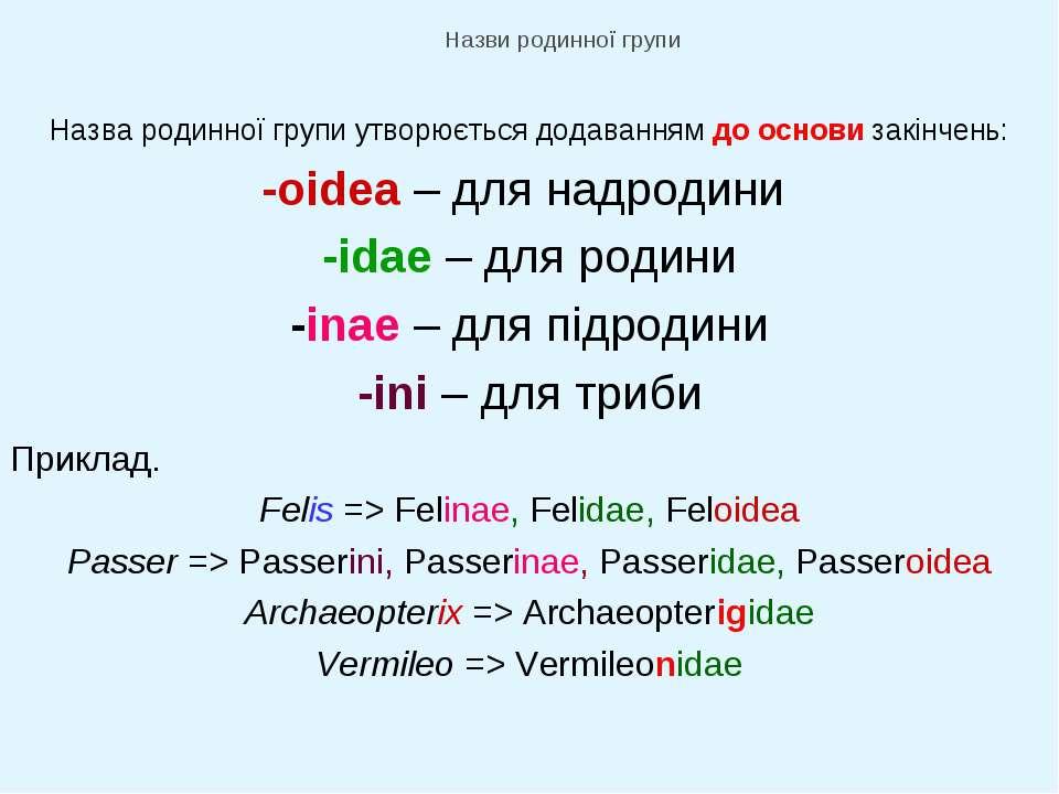 Назви родинної групи Назва родинної групи утворюється додаванням до основи за...