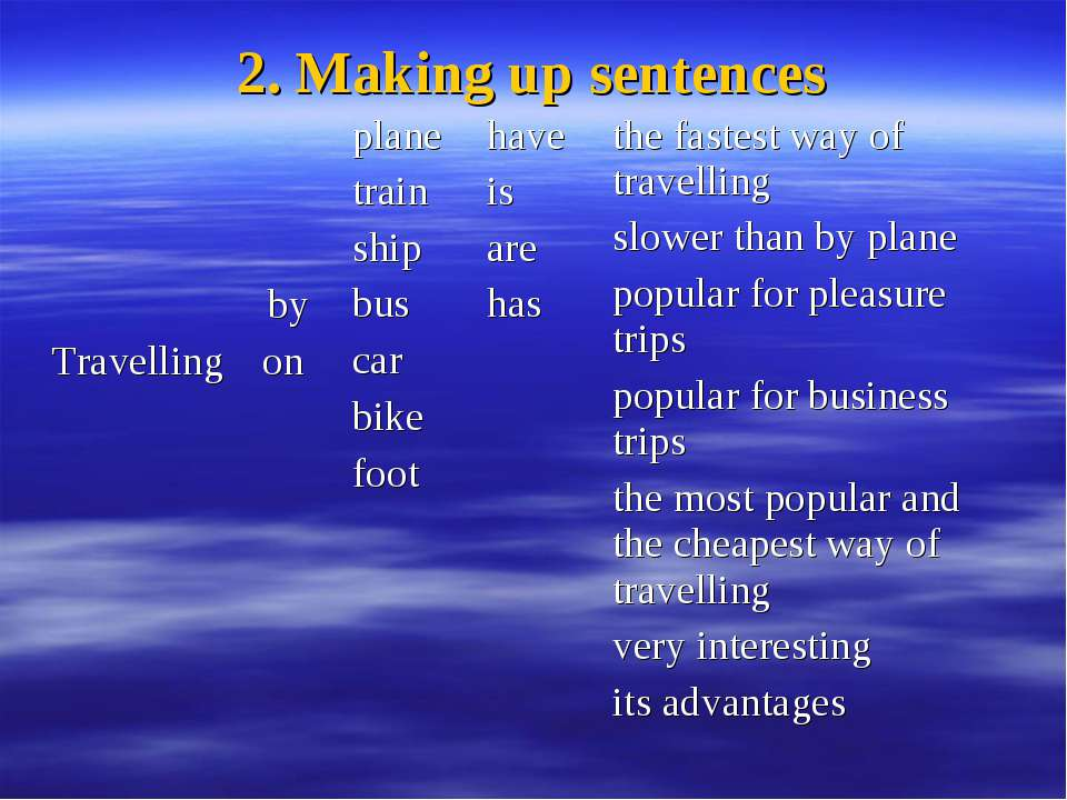 2. Making up sentences Travelling by on plane train ship bus car bike foot ha...