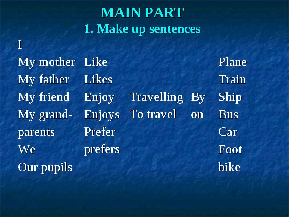 MAIN PART 1. Make up sentences I My mother My father My friend My grand- pare...