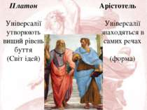 Платон Універсалії утворюють вищий рівень буття (Світ ідей) Арістотель Універ...