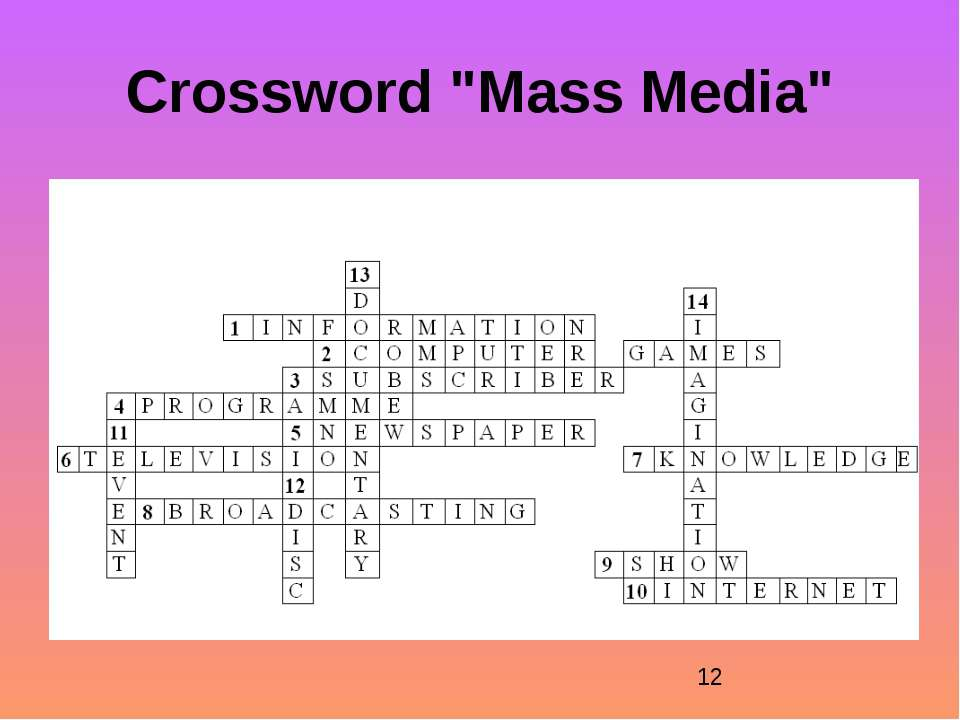 "Crossword ""Mass Media"""