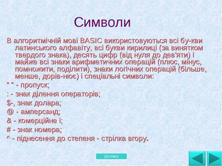 В алгоритмічній мові BASIC використовуються всі бу кви латинського алфавіту, ...