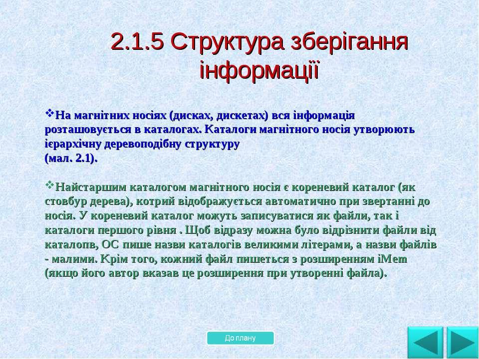 . 2.1.5 Структура зберігання інформації На магнітних носіях (дисках, дискетах...