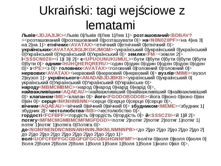 Ukraiński: tagi wejściowe z lematami Львів розташований на етнічних українськ...