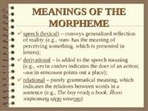 MEANINGS OF THE MORPHEME speech (lexical) – conveys generalized reflection of...