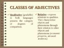 CLASSES OF ADJECTIVES Relative - express relations to qualities. They charact...