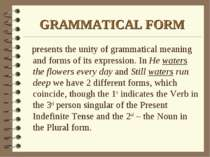 GRAMMATICAL FORM presents the unity of grammatical meaning and forms of its e...