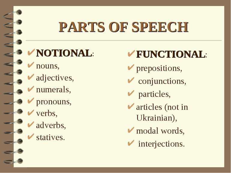 PARTS OF SPEECH FUNCTIONAL: prepositions, conjunctions, particles, articles (...