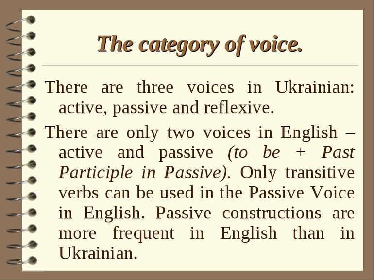 The category of voice. There are three voices in Ukrainian: active, passive a...