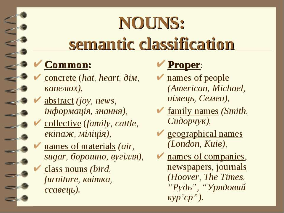 NOUNS: semantic classification Proper: names of people (American, Michael, ні...