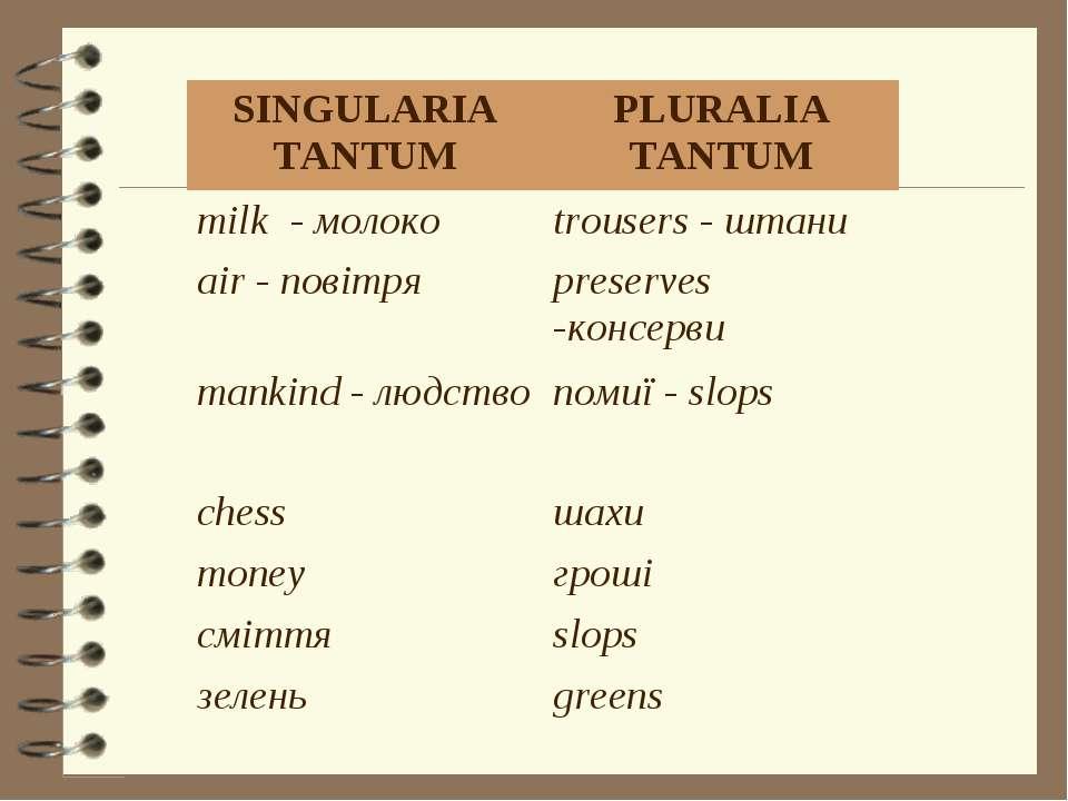 SINGULARIA TANTUM PLURALIA TANTUM milk - молоко trousers - штани air - повітр...