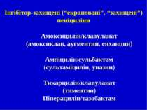"""Інгібітор-захищені (""""екрановані"""", """"захищені"""") пеніциліни Амоксицилін/клавулан..."""