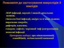 Показання до застосування макролідів й азалідів ЛОР-інфекції, верхніх і нижні...