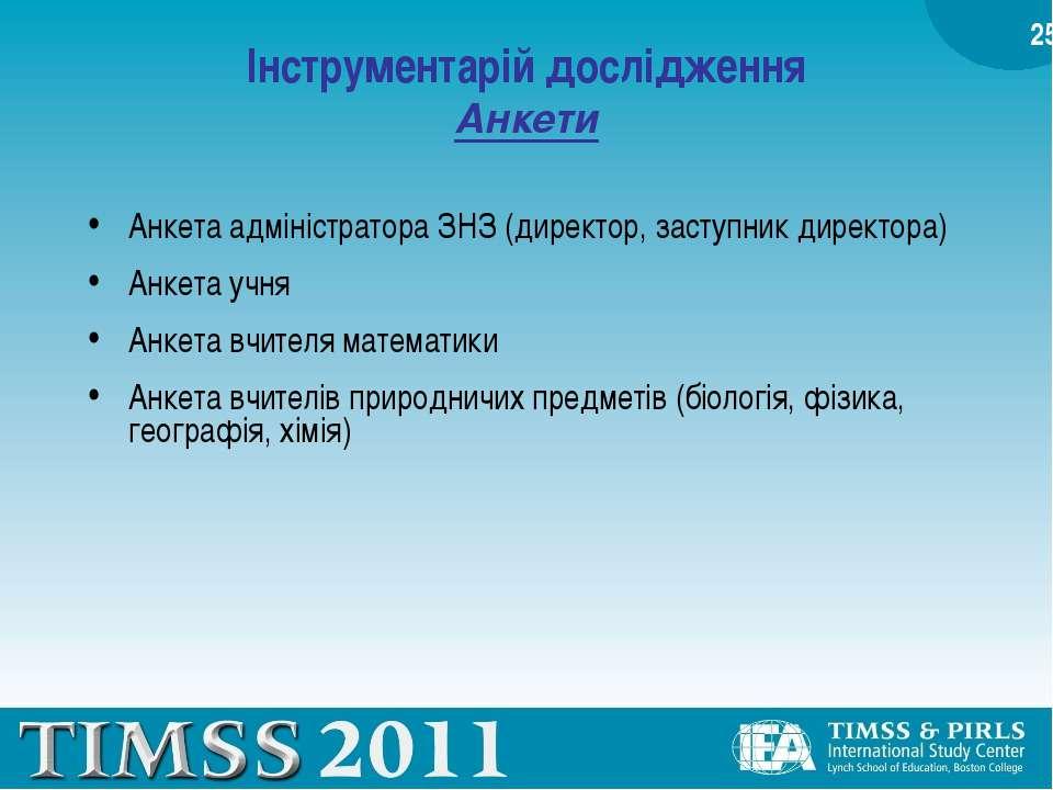 Інструментарій дослідження Анкети Анкета адміністратора ЗНЗ (директор, заступ...
