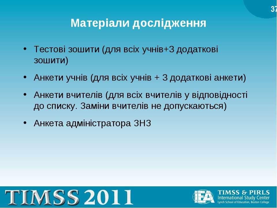 Матеріали дослідження Тестові зошити (для всіх учнів+3 додаткові зошити) Анке...
