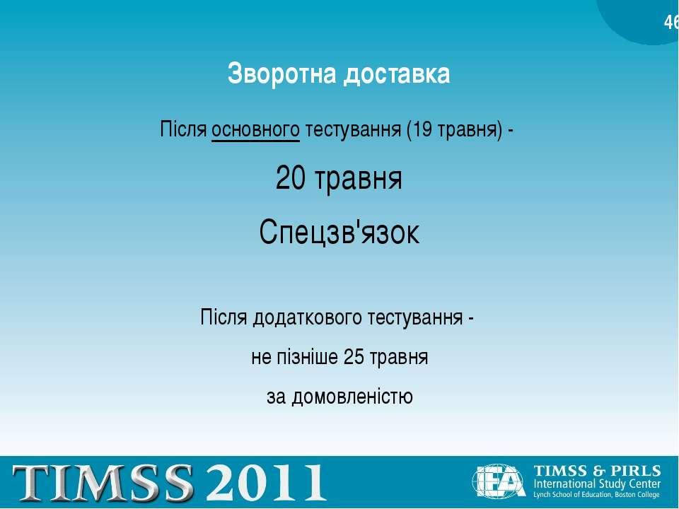 Зворотна доставка Після основного тестування (19 травня) - 20 травня Спецзв'я...