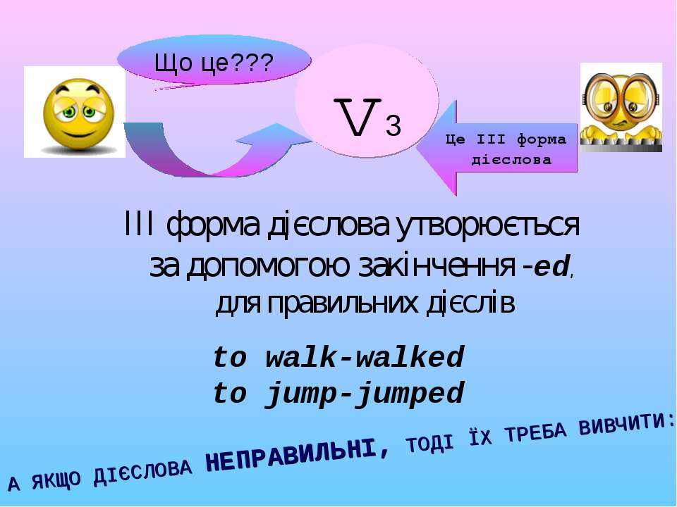 ІІІ форма дієслова утворюється за допомогою закінчення -ed, для правильних ді...