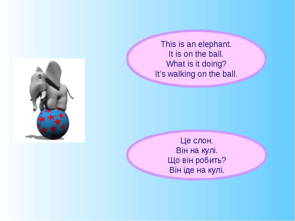 This is an elephant. It is on the ball. What is it doing? It's walking on the...