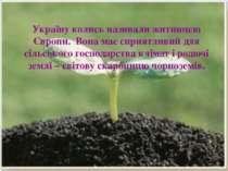Україну колись називали житницею Європи. Вона має сприятливий для сільського ...
